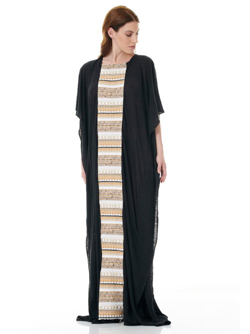 T1602 BLACK1 FREE SPIRIT KAFTAN DRESS TIKTO TIKTOATHENS