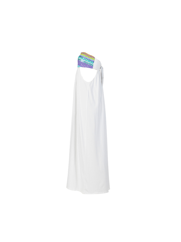 "T1617_SIDE_WHITE-""Open Minded"" Jersey Cotton Voile Dress TIKTO TIKTOATHENS"