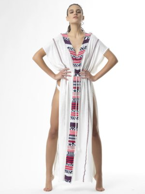 T1703 WHITE If U Want it Have It Linen Kaftan by Tikto Athens loose fit long in two colors