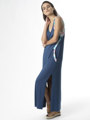 "T1712 BLUE Jersey Long Dress ""Shout Out Loud"" TIKTO Athens"