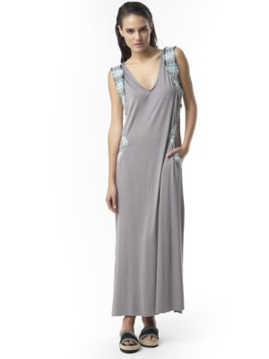 "T1712 GREY Jersey Long Dress ""Shout Out Loud"" TIKTO Athens"