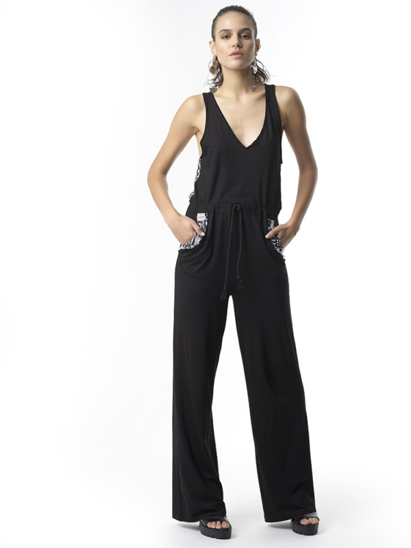 "T1718 FRONT BLACK Jersey Jumpsuit ""Start Over"" by Tikto Athens loose fit"