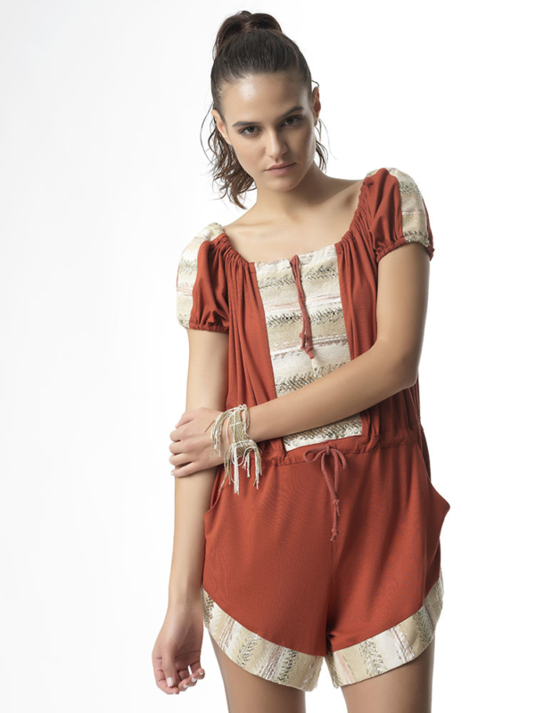 "T1719 TERRACOTTA Jersey Playsuit ""Over Love"" by Tikto Athens one size loose fit"