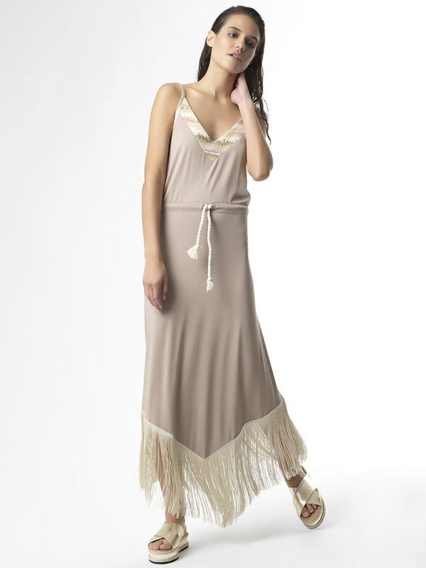 "T1721 BEIGE ""STAND OUT"" Jersey Fringe Dress by Tikto Athens regular fit"