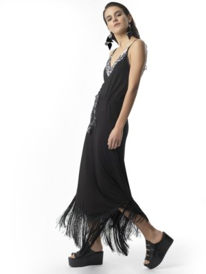 "T1721 BLACK ""STAND OUT"" Jersey Fringe Dress by Tikto Athens regular fit"