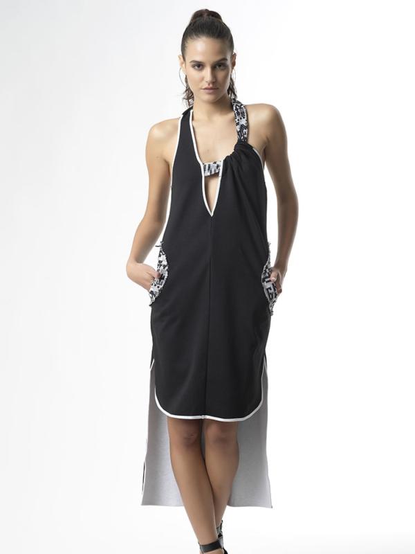 T1725 BLACK DREAM BIG JERSEY ASYMMETRIC DRESS TIKTO TIKTOATHENS