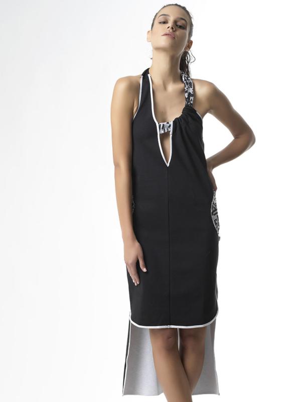 T1725 FRONT BLACK DREAM BIG JERSEY ASYMMETRIC DRESS TIKTO TIKTOATHENS