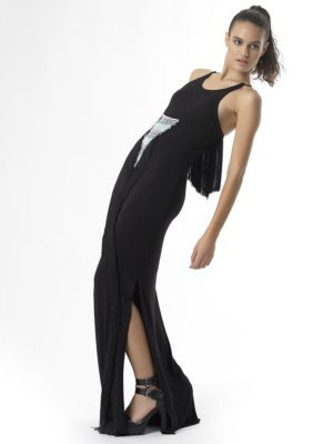 T1726 POSE BLACK INSPIRE OTHERS JERSEY FRINGE DRESS