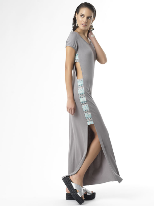 T1729 SIDE_GREY Follow your Heart Jersey Long Dress with side cut out details regular fit by Tikto Athens