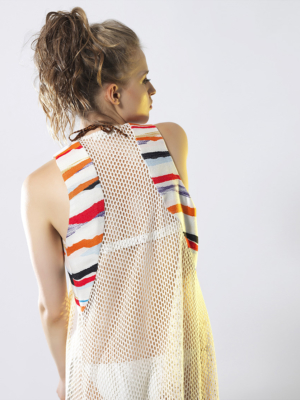 T1813 BEIGE BACK FOLLOW THE SUN LONG NET VEST TIKTO TIKTOATHENS