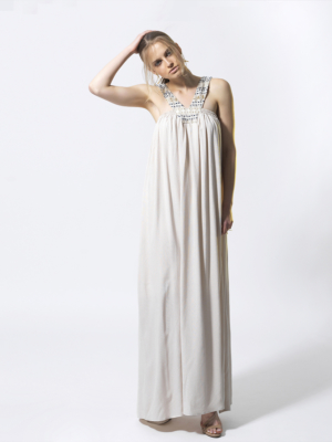 T1806 BEIGE SHINE BRIGHT DRESS TIKTO TIKTOATHENS