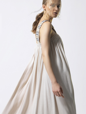 T1806 BEIGE SIDE SHINE BRIGHT DRESS TIKTO TIKTOATHENS
