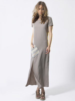 T1817 SAND FRONT GLARE DRESS TIKTO TIKTOATHENS